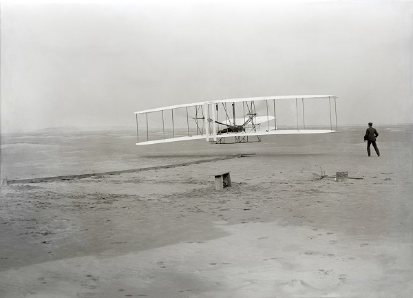 The Wright brothers first flight in Kitty Hawk, North Carolina on December 17, 1903