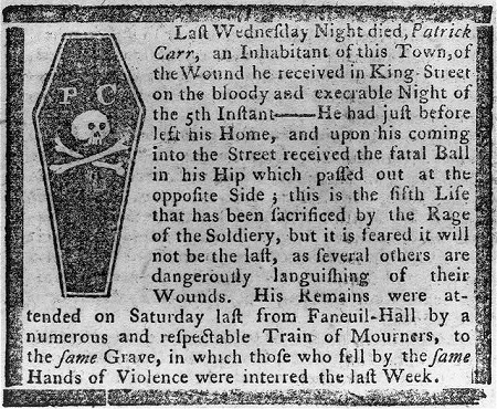 Obituary of Patrick Carr circa 1770