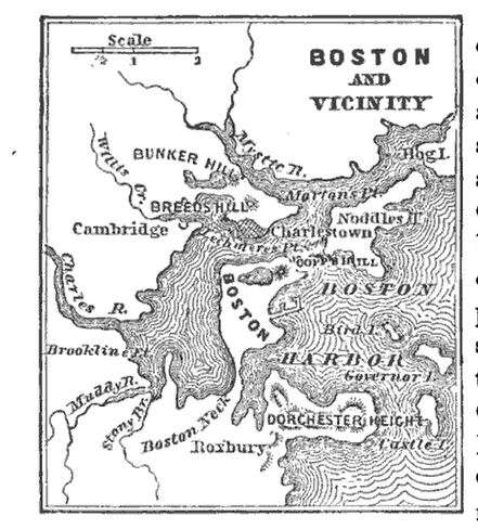 Boston and vicinity, map published in A Pictorial School History of the United States, circa 1877