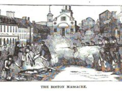 The Boston Massacre, illustration published in the Pictorial History of the United States, circa 1877