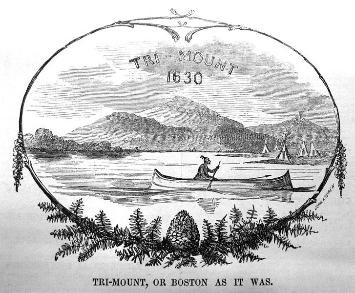Trimount or Boston as it was, illustration published in Gleasons pictorial, circa 1850