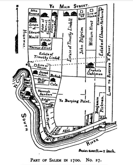 Old Burying Point Cemetery in Salem, Mass in 1700