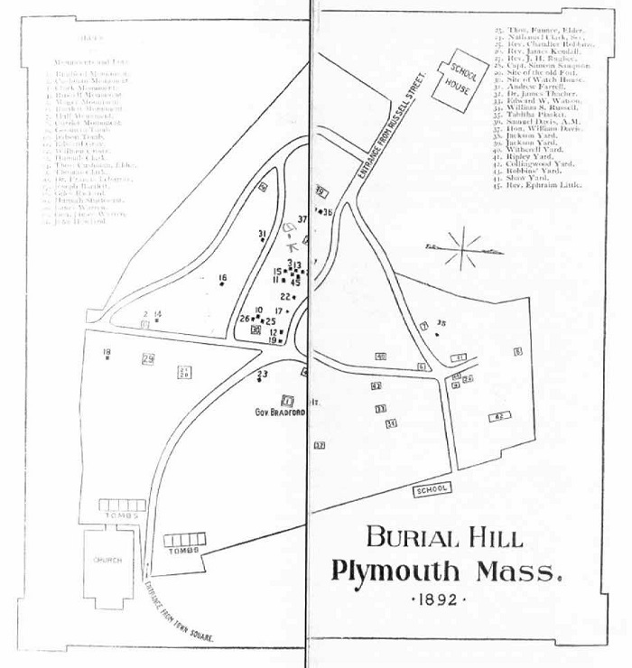 Map of Burial Hill, Plymouth, Mass, circa 1892