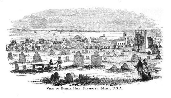Burial Hill in Plymouth Mass, illustration, circa 1890