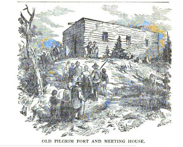 Old Pilgrim Fort and Meeting House, illustration published in Epitaphs from Burial Hill, circa 1892