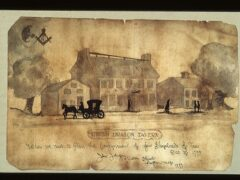 Illustration of the Green Dragon Tavern in Boston circa 1773