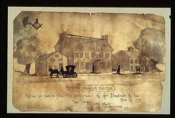 Illustration of the Green Dragon Tavern in Boston circa 1773