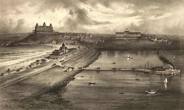 View of Nantasket Beach in Hull, Mass circa 1879
