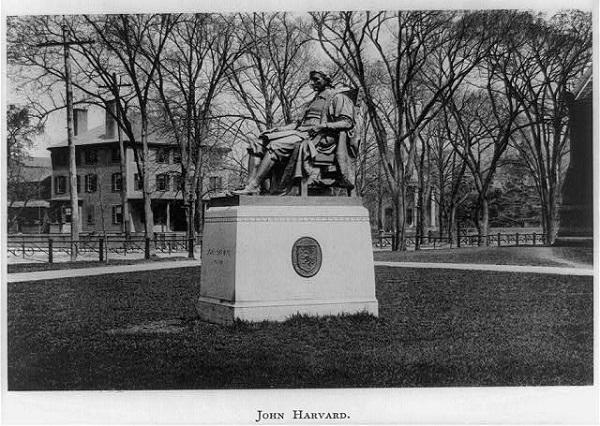 John Harvard Statue, Cambridge, Mass, in 1891
