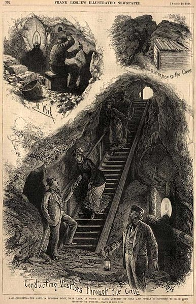 Hiram Marble's excavation at Dungeon Rock in Lynn, MA, illustration from Frank Leslie's Illustrated Newspaper, circa August 1878
