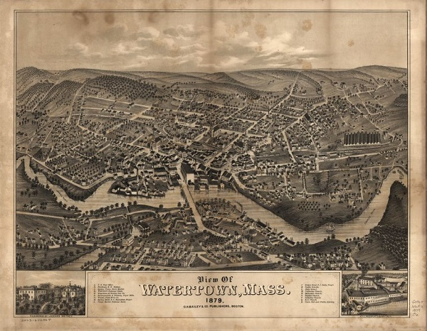 View of Watertown, Mass, illustration by O.H. Bailey & Co, circa 1879