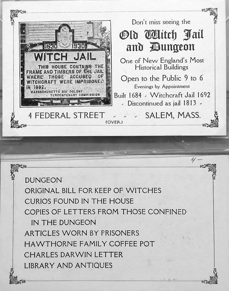 Handbill for the Old Witch Jail attraction in Salem, Mass