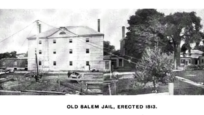 Old Salem Jail, photo published in the Illustrated History of Salem and Environs, circa 1897