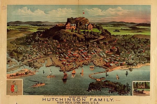 Home of the Hutchinson Family, High Rock, Lynn, Mass., postcard circa 1881