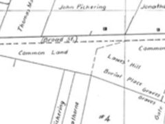 Broad Street Cemetery on a map of Salem in 1700