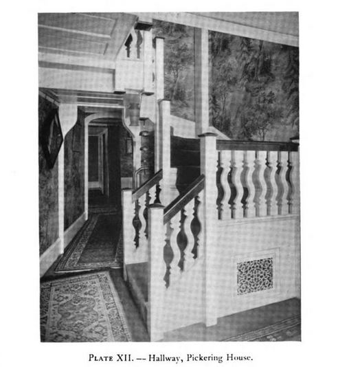 Hallway, Pickering House, photo  published in Historic Homes of New England in 1914